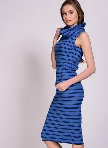 Black Pepper Balıkçı Yaka Çizgili Elbise  Mavi